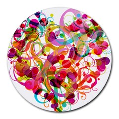 Abstract Colorful Heart Round Mousepads