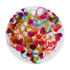 Abstract Colorful Heart Ornament (round)