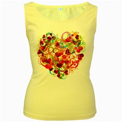 Abstract Colorful Heart Women s Yellow Tank Top