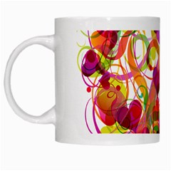 Abstract Colorful Heart White Mugs