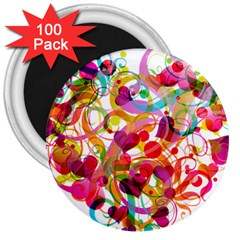 Abstract Colorful Heart 3  Magnets (100 Pack)