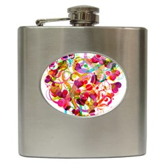 Abstract Colorful Heart Hip Flask (6 Oz)