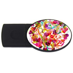 Abstract Colorful Heart Usb Flash Drive Oval (2 Gb)