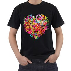 Abstract Colorful Heart Men s T Shirt (black) (two Sided)