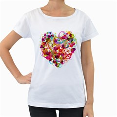 Abstract Colorful Heart Women s Loose Fit T Shirt (white)