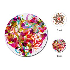 Abstract Colorful Heart Playing Cards (round)