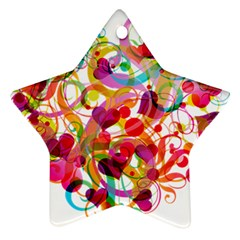 Abstract Colorful Heart Star Ornament (two Sides)