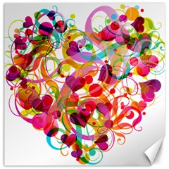 Abstract Colorful Heart Canvas 20  X 20