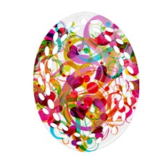 Abstract Colorful Heart Oval Filigree Ornament (two Sides)