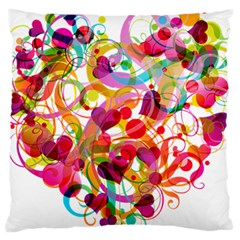 Abstract Colorful Heart Large Cushion Case (one Side)