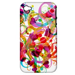 Abstract Colorful Heart Apple Iphone 4/4s Hardshell Case (pc+silicone)