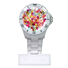 Abstract Colorful Heart Plastic Nurses Watch