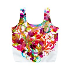 Abstract Colorful Heart Full Print Recycle Bags (m)