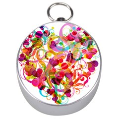 Abstract Colorful Heart Silver Compasses