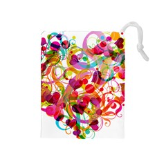 Abstract Colorful Heart Drawstring Pouches (medium)