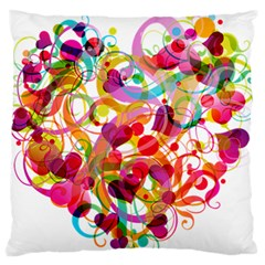 Abstract Colorful Heart Large Flano Cushion Case (one Side)