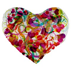 Abstract Colorful Heart Large 19  Premium Flano Heart Shape Cushions