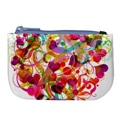 Abstract Colorful Heart Large Coin Purse