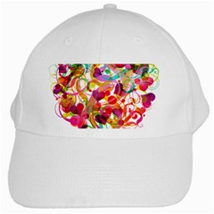 Abstract Colorful Heart White Cap