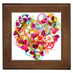 Abstract Colorful Heart Framed Tiles