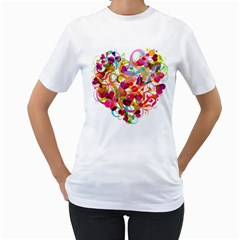 Abstract Colorful Heart Women s T Shirt (white) (two Sided)