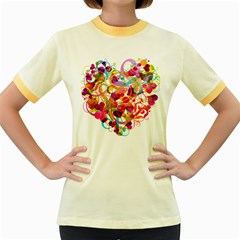 Abstract Colorful Heart Women s Fitted Ringer T Shirts