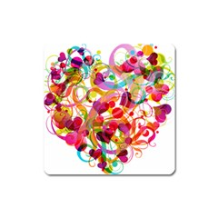 Abstract Colorful Heart Square Magnet