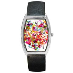 Abstract Colorful Heart Barrel Style Metal Watch