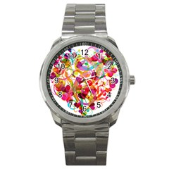 Abstract Colorful Heart Sport Metal Watch