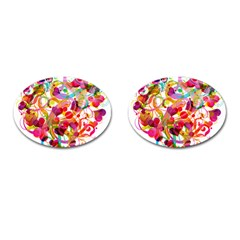 Abstract Colorful Heart Cufflinks (oval)