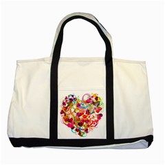 Abstract Colorful Heart Two Tone Tote Bag