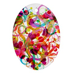 Abstract Colorful Heart Oval Ornament (two Sides)
