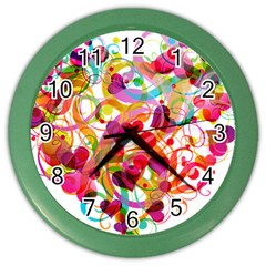 Abstract Colorful Heart Color Wall Clocks