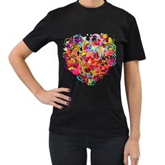 Abstract Colorful Heart Women s T Shirt (black)