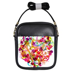 Abstract Colorful Heart Girls Sling Bags