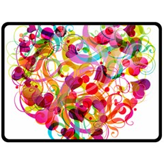 Abstract Colorful Heart Fleece Blanket (large)