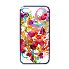 Abstract Colorful Heart Apple Iphone 4 Case (black)