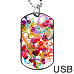 Abstract Colorful Heart Dog Tag Usb Flash (one Side)