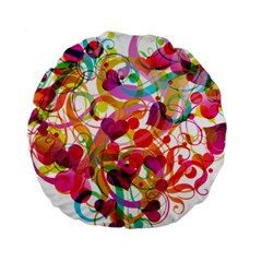 Abstract Colorful Heart Standard 15  Premium Round Cushions