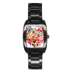 Abstract Colorful Heart Stainless Steel Barrel Watch