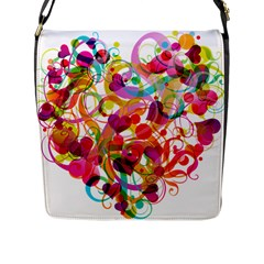 Abstract Colorful Heart Flap Messenger Bag (l)