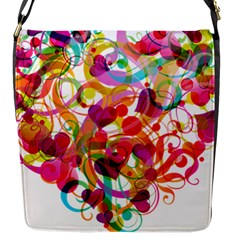 Abstract Colorful Heart Flap Messenger Bag (s)