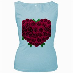 Floral Heart Women s Baby Blue Tank Top