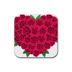Floral Heart Rubber Coaster (square)