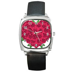 Floral Heart Square Metal Watch