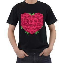 Floral Heart Men s T Shirt (black) (two Sided)
