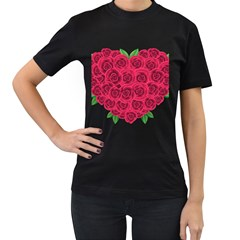 Floral Heart Women s T Shirt (black) (two Sided)