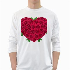 Floral Heart White Long Sleeve T Shirts
