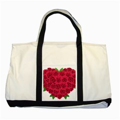 Floral Heart Two Tone Tote Bag