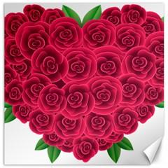 Floral Heart Canvas 16  X 16